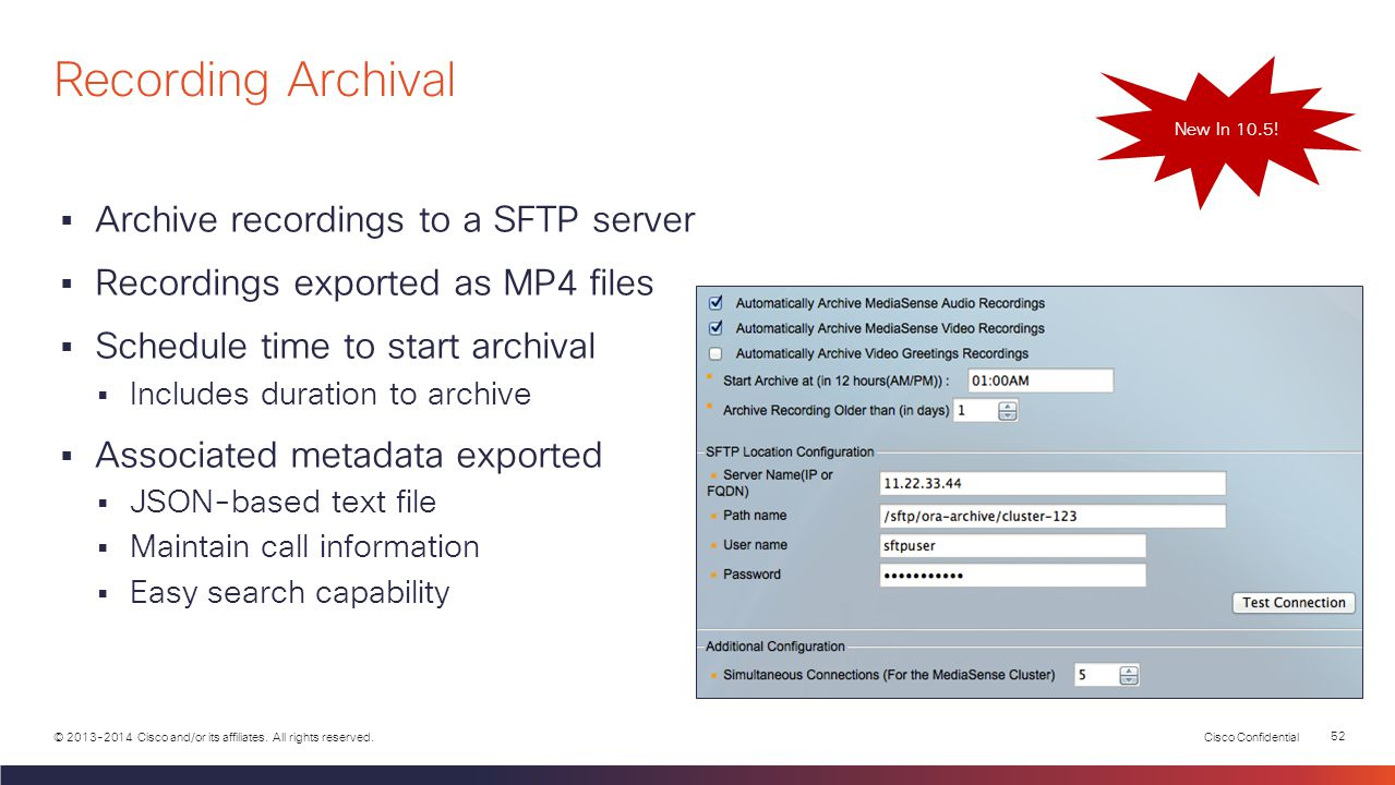 Recording Archival Archive recordings to a SFTP server