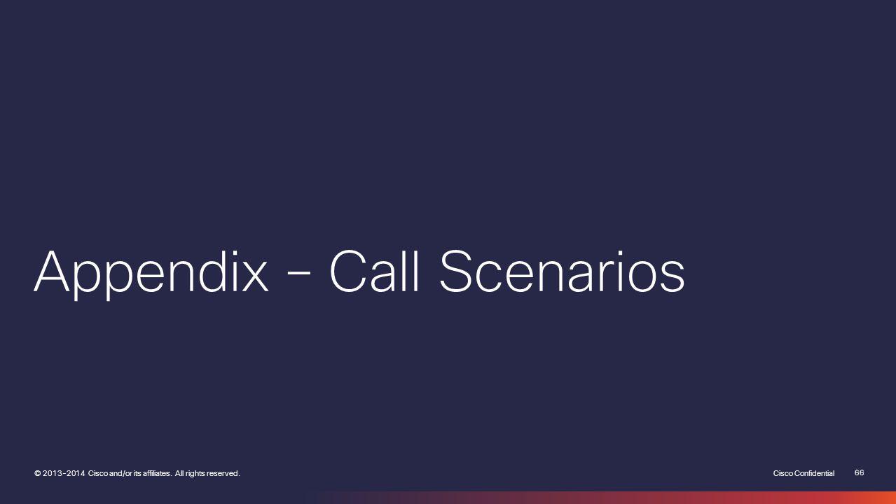 Appendix – Call Scenarios