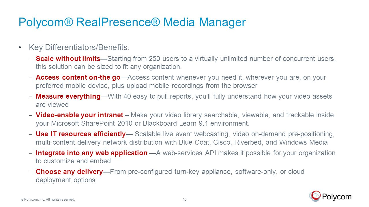 Polycom® RealPresence® Media Manager