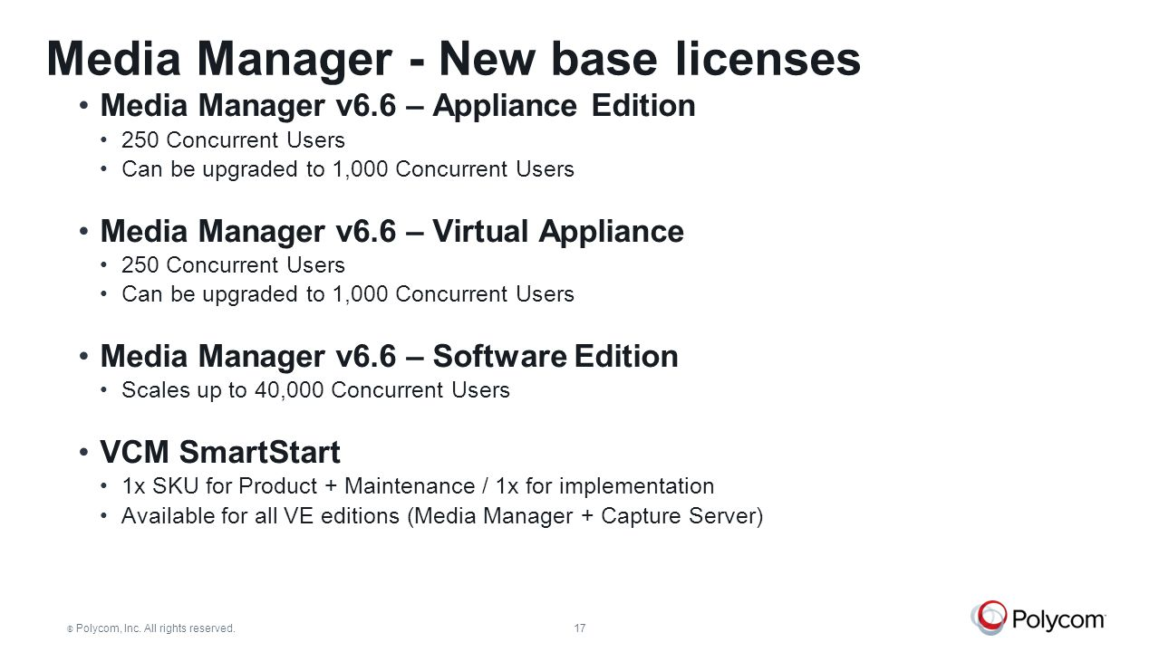 Media Manager - New base licenses