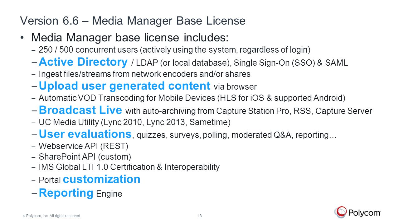 Version 6.6 – Media Manager Base License