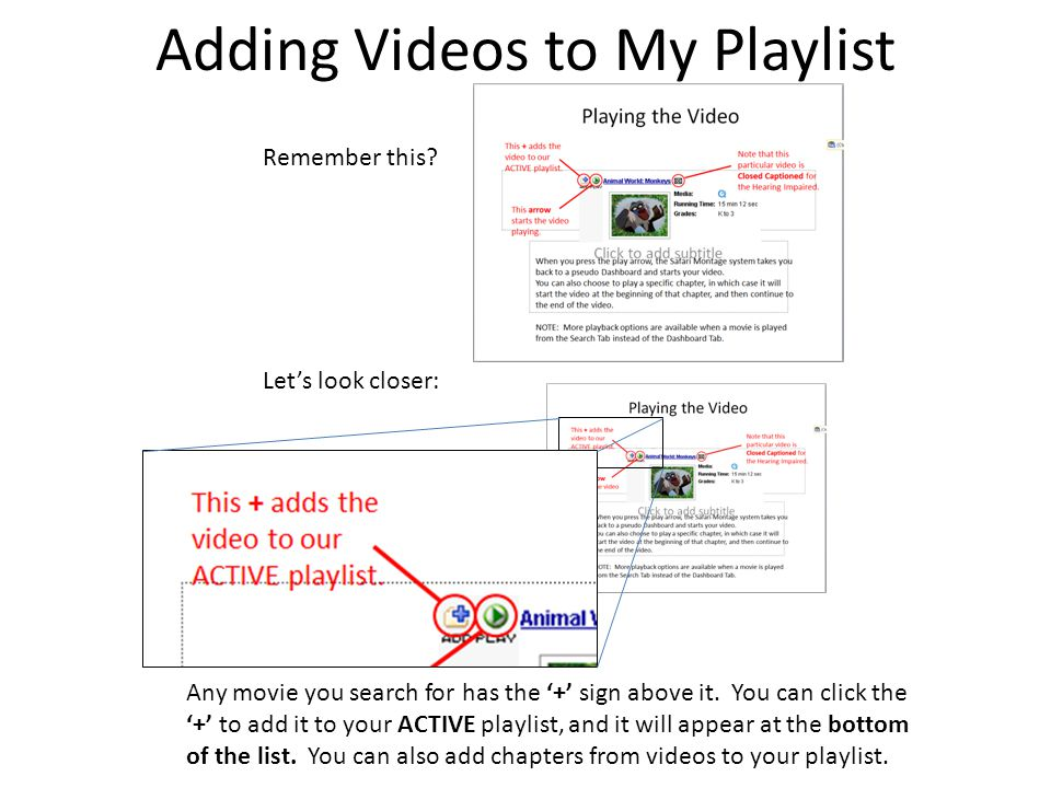 Adding Videos to My Playlist