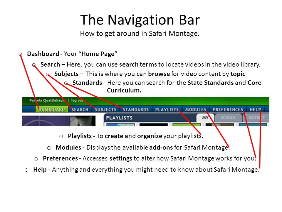 The Navigation Bar How to get around in Safari Montage.