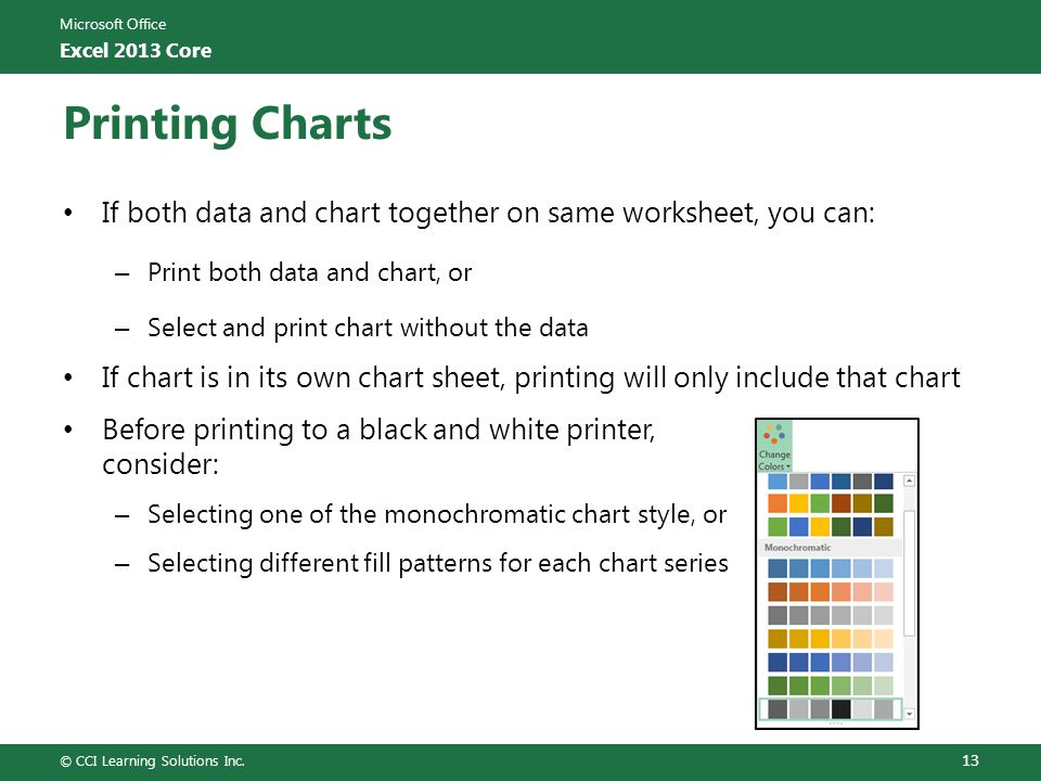 Printing Charts If both data and chart together on same worksheet, you can: Print both data and chart, or.