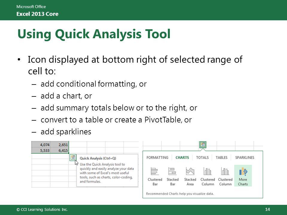 Using Quick Analysis Tool