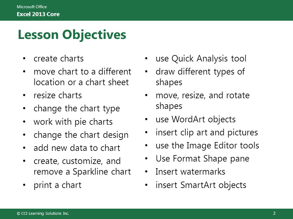 Lesson Objectives create charts