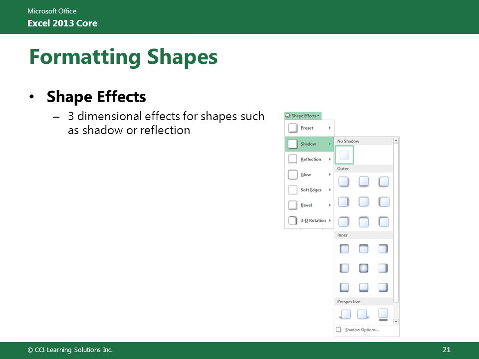 Formatting Shapes Shape Effects