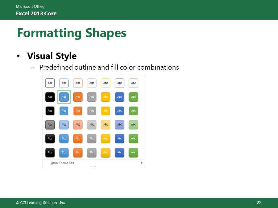 Formatting Shapes Visual Style