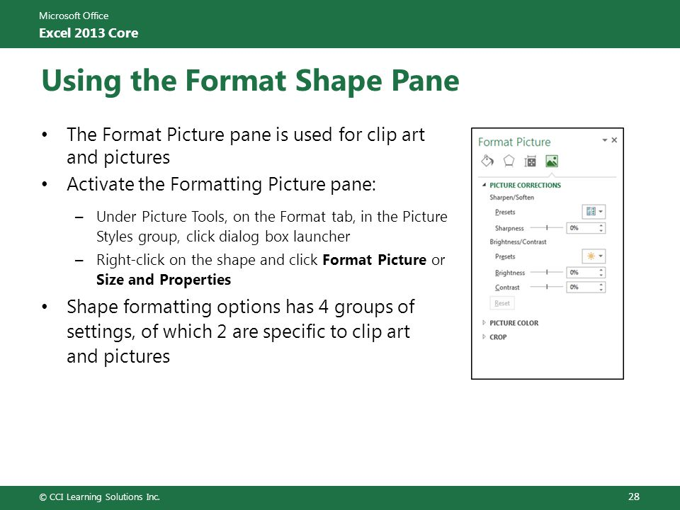 Using the Format Shape Pane
