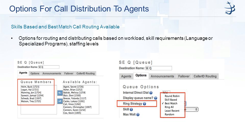 Options For Call Distribution To Agents