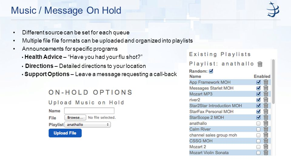 Music / Message On Hold Different source can be set for each queue