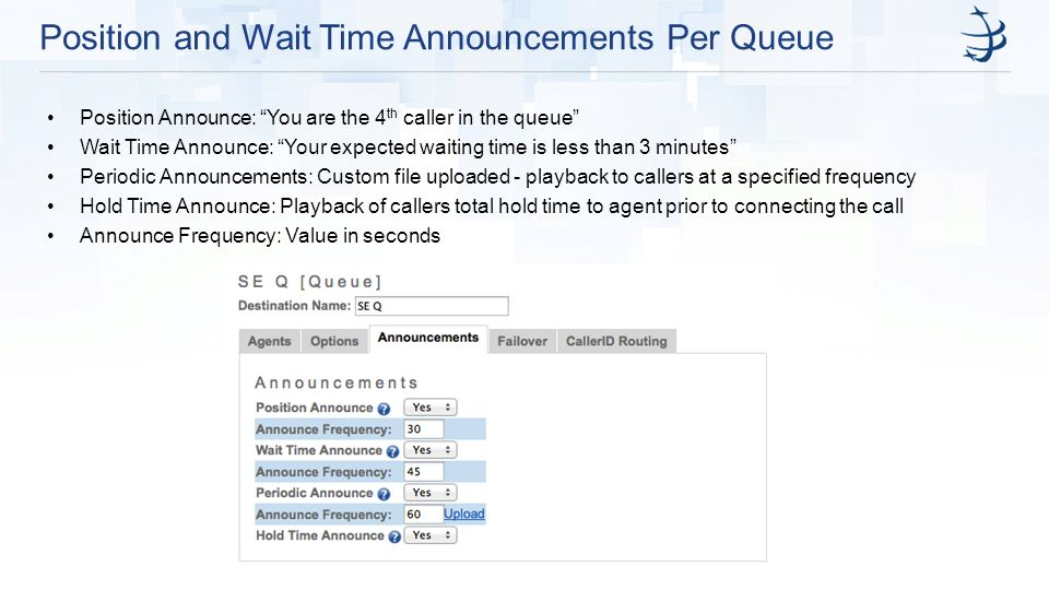 Position and Wait Time Announcements Per Queue