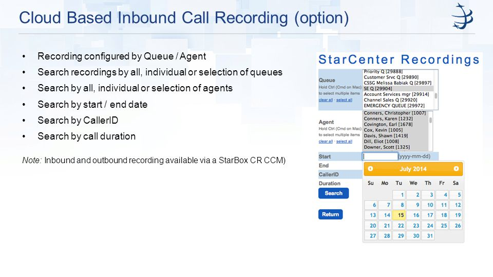 Cloud Based Inbound Call Recording (option)