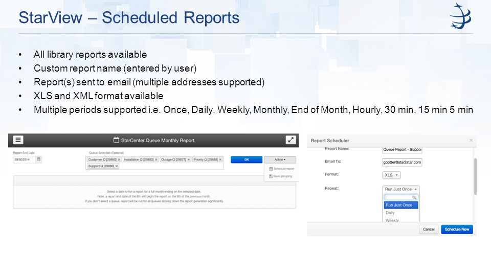 StarView – Scheduled Reports