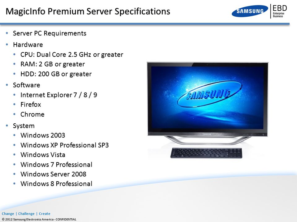 MagicInfo Premium Server Specifications