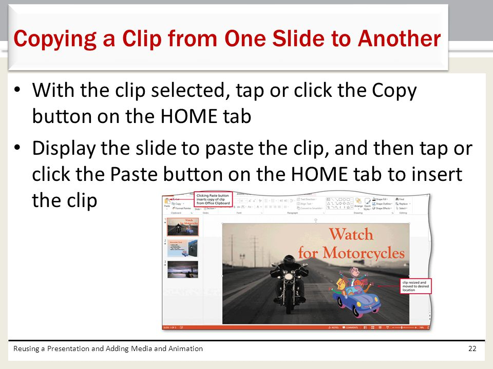 Copying a Clip from One Slide to Another