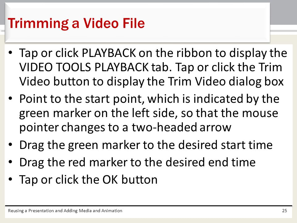 Trimming a Video File