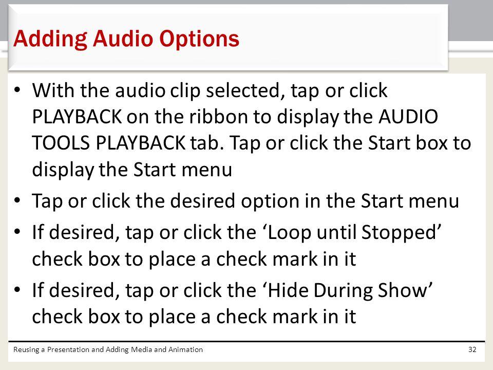 Adding Audio Options