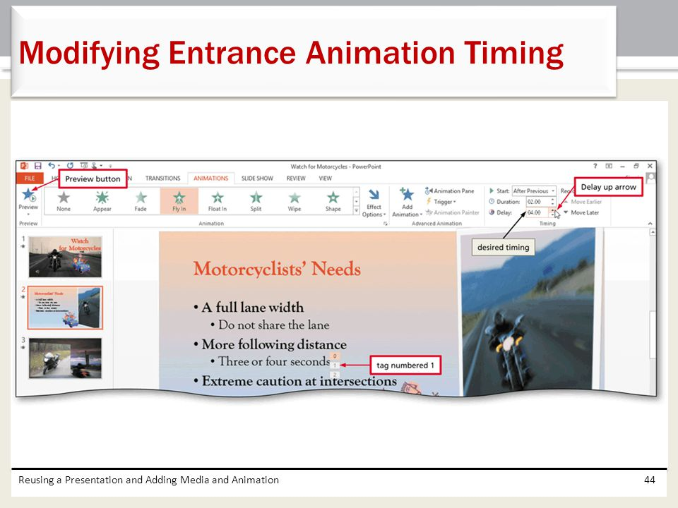 Modifying Entrance Animation Timing
