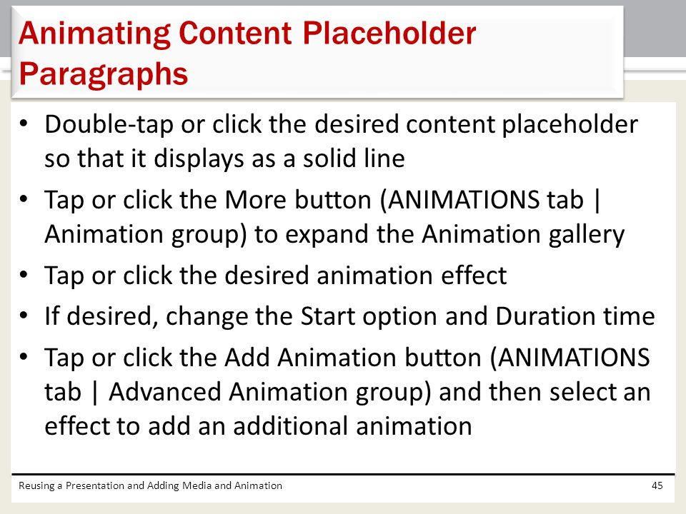 Animating Content Placeholder Paragraphs