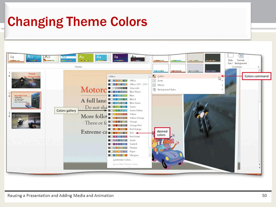 Changing Theme Colors Reusing a Presentation and Adding Media and Animation