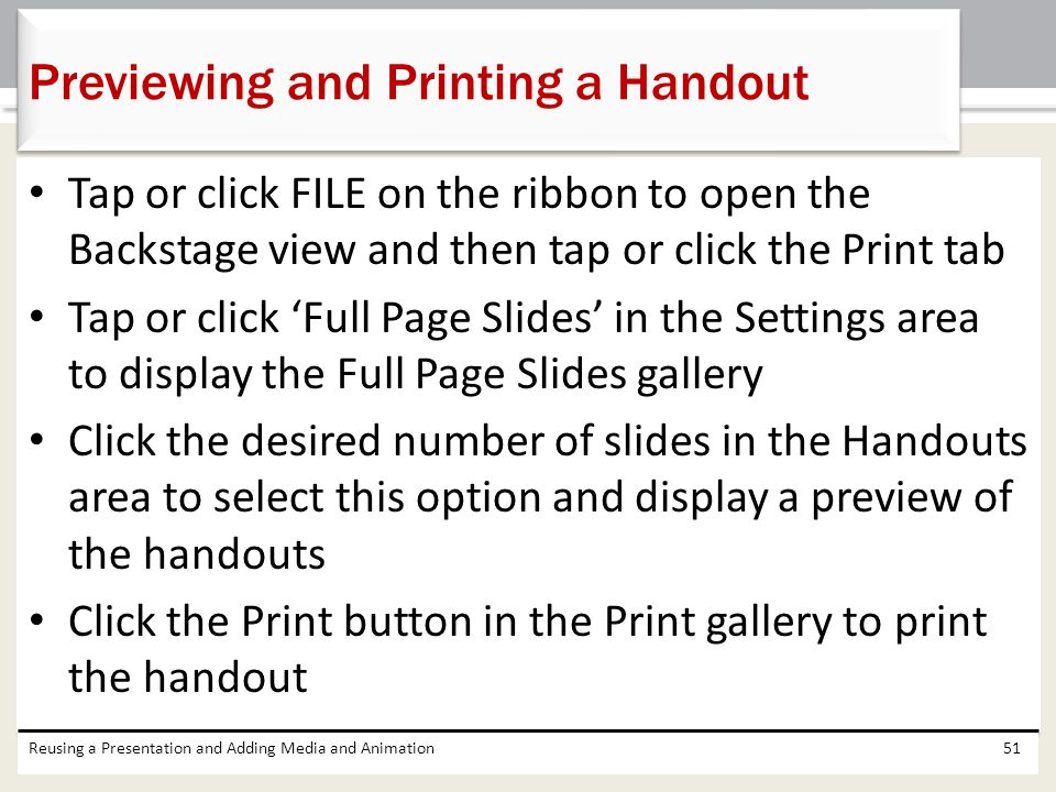 Previewing and Printing a Handout
