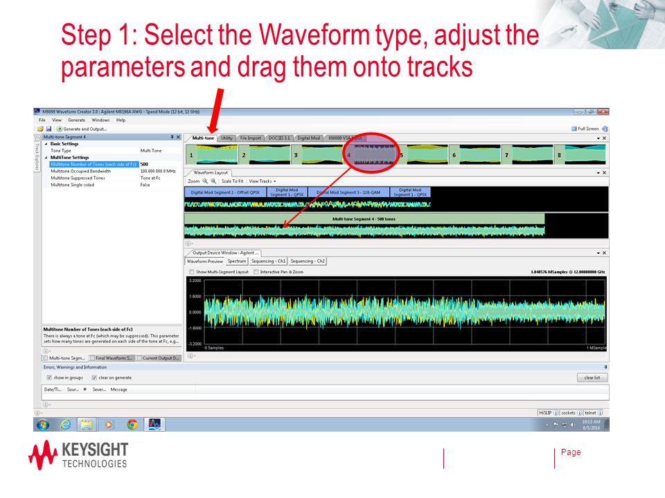 Step 1: Select the Waveform type, adjust the parameters and drag them onto tracks