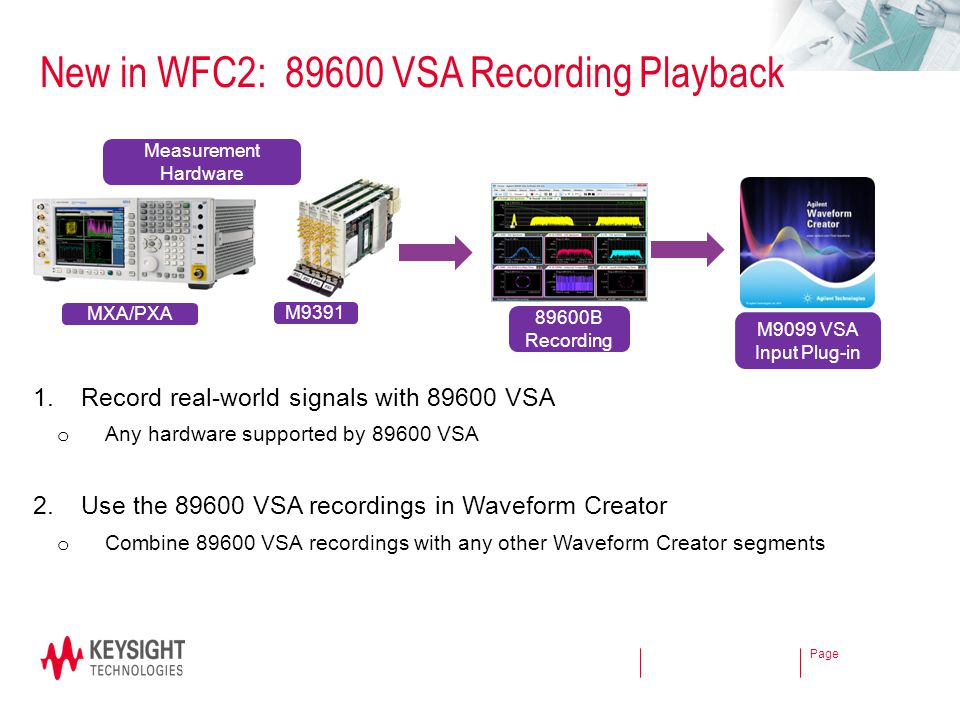New in WFC2: 89600 VSA Recording Playback