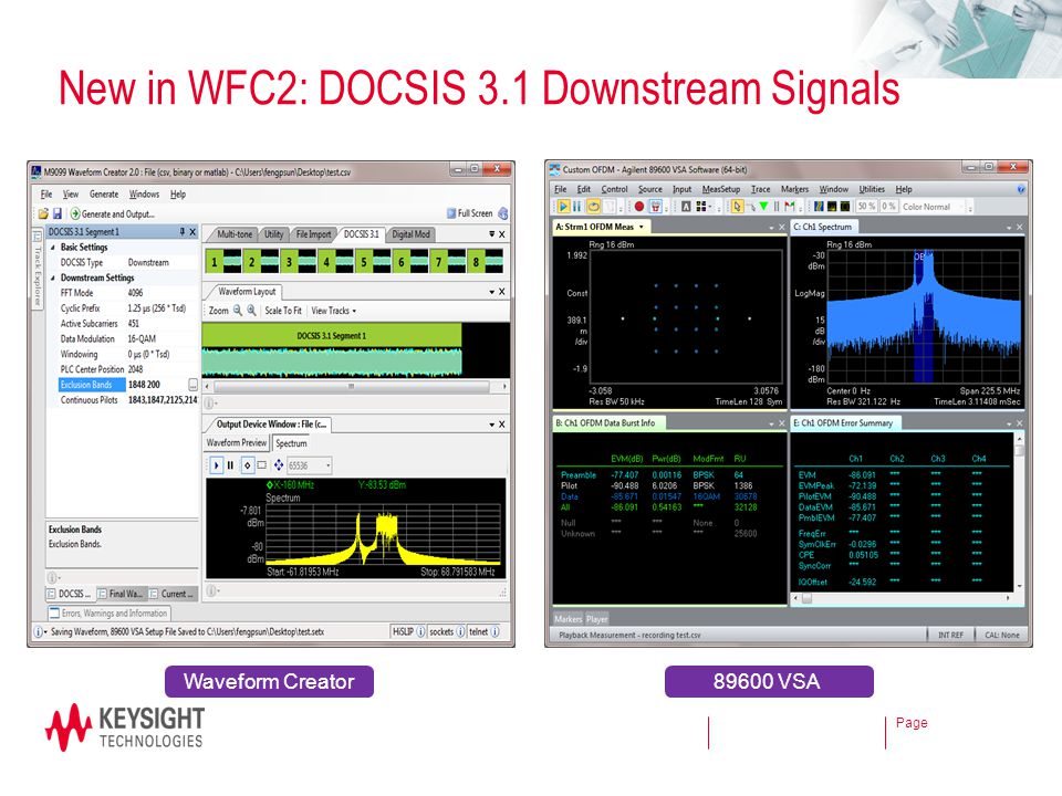 New in WFC2: DOCSIS 3.1 Downstream Signals