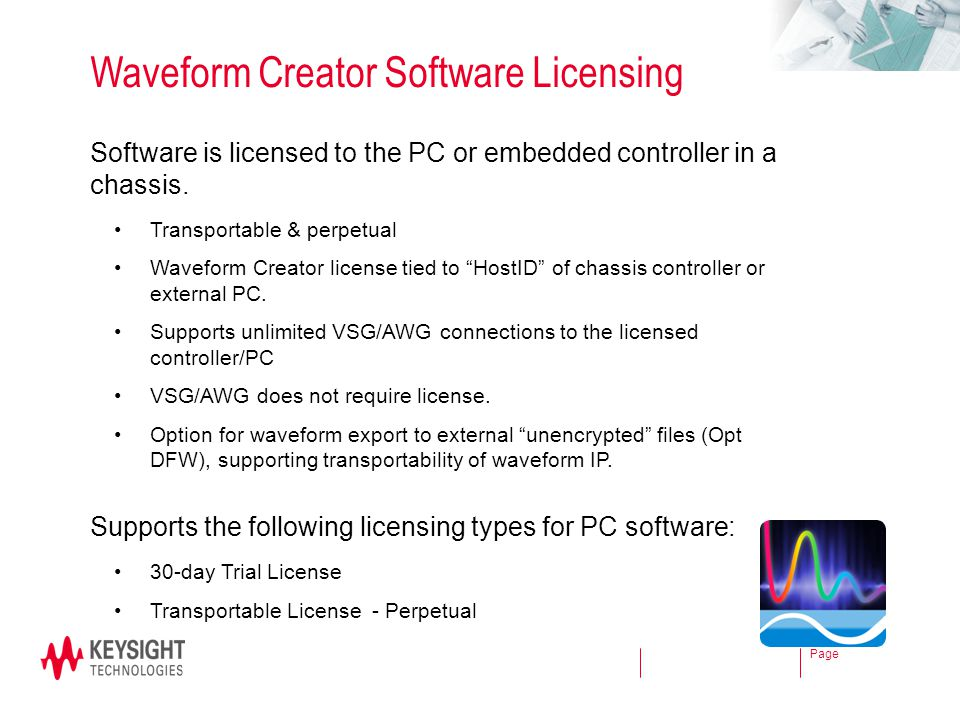 Waveform Creator Software Licensing