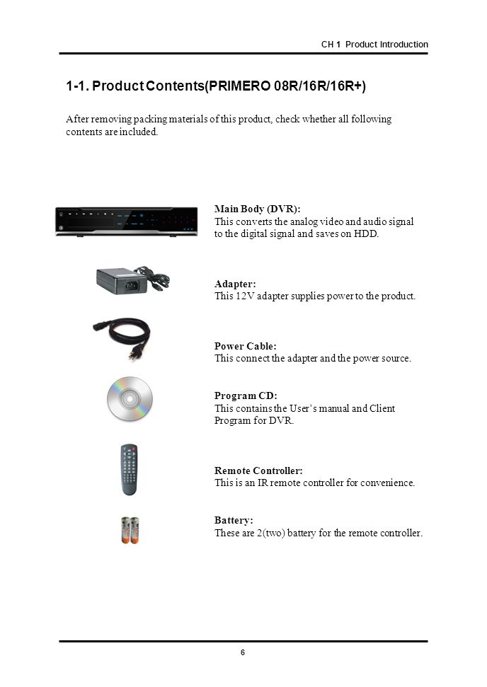 1-1. Product Contents(PRIMERO 08R/16R/16R+)