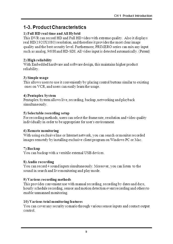 1-3. Product Characteristics