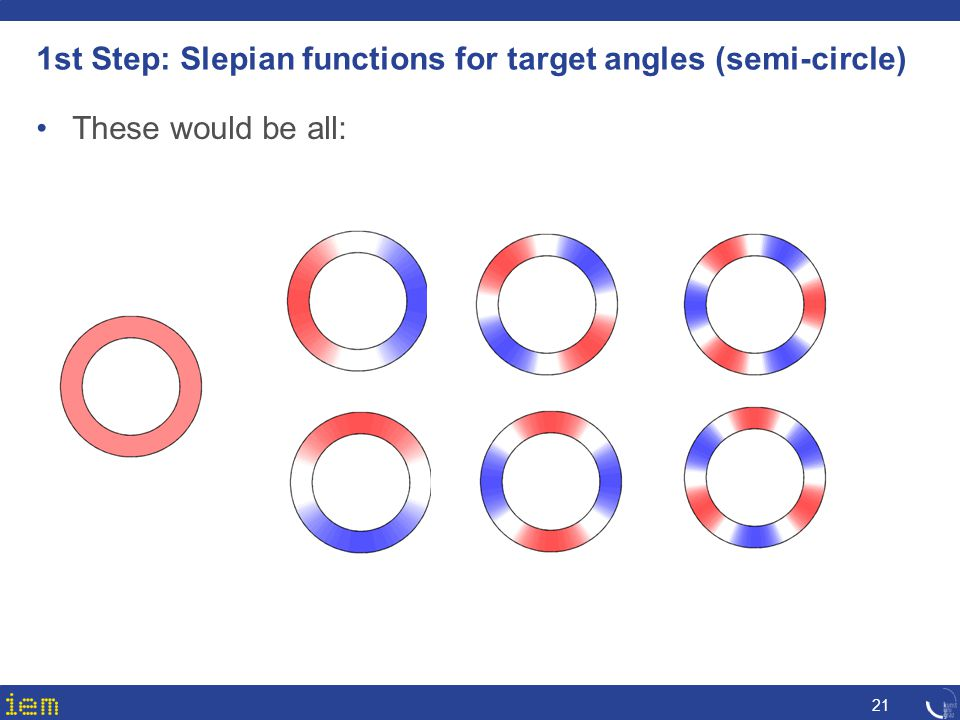 1st Step: Slepian functions for target angles (semi-circle)