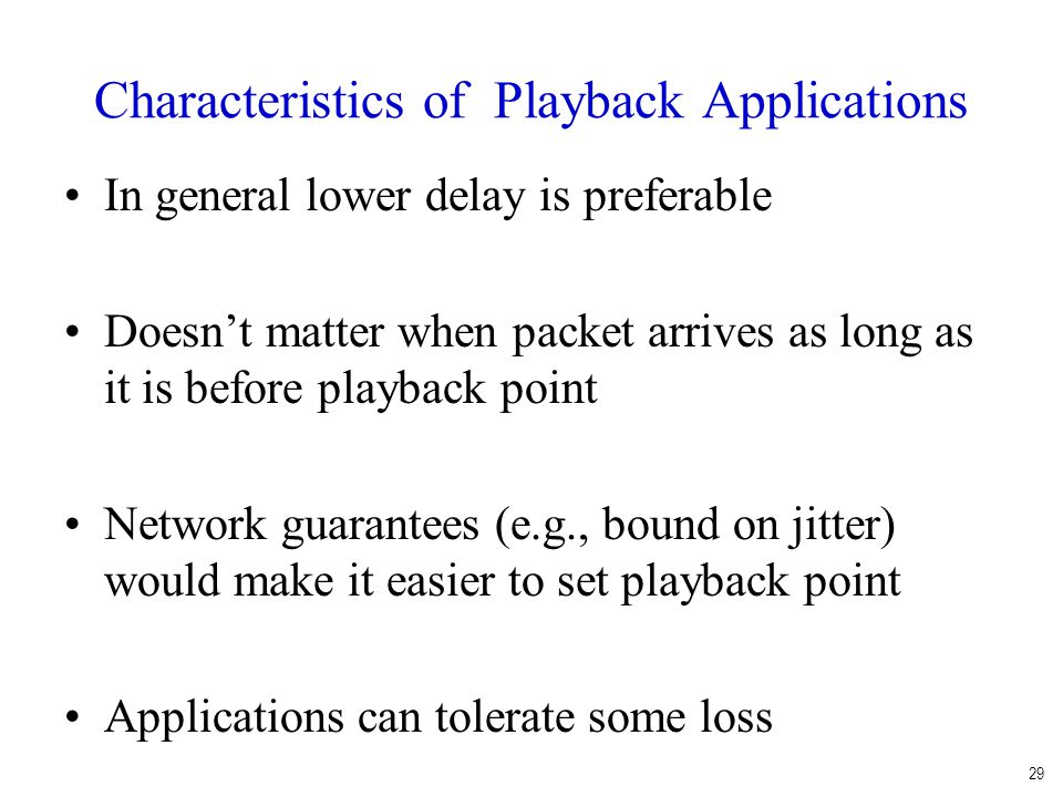 Characteristics of Playback Applications