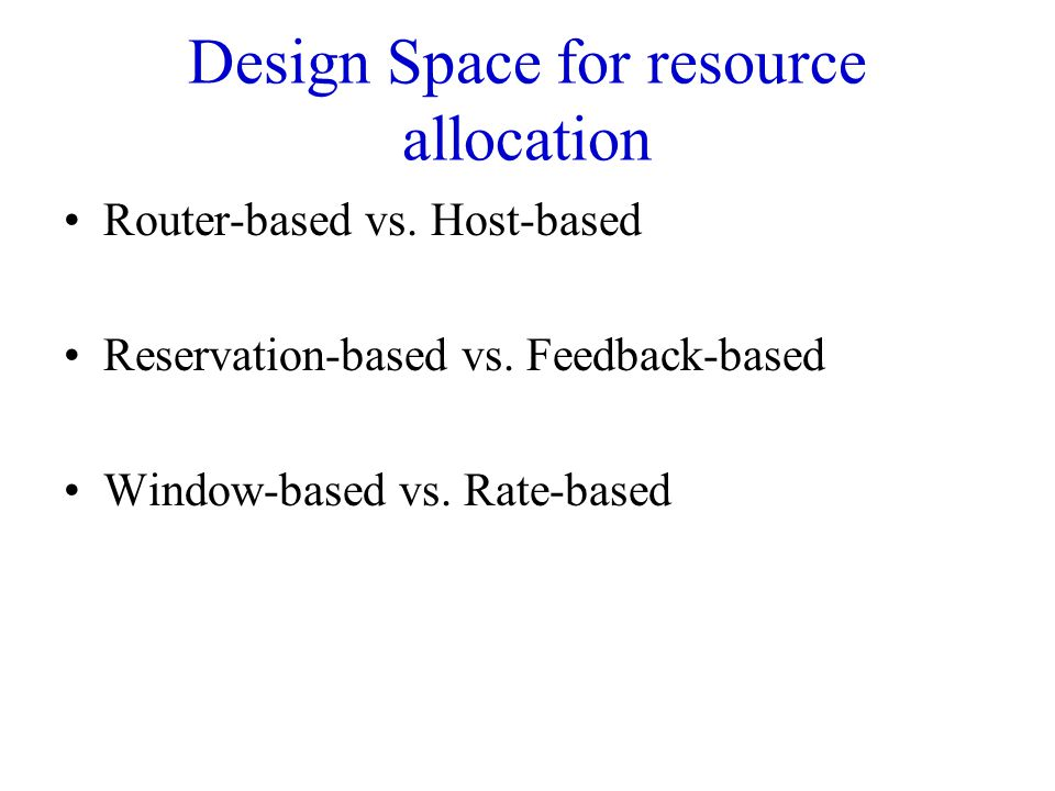 Design Space for resource allocation