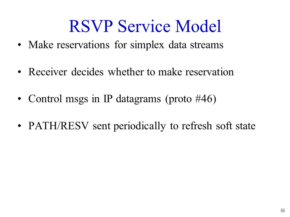 RSVP Service Model Make reservations for simplex data streams