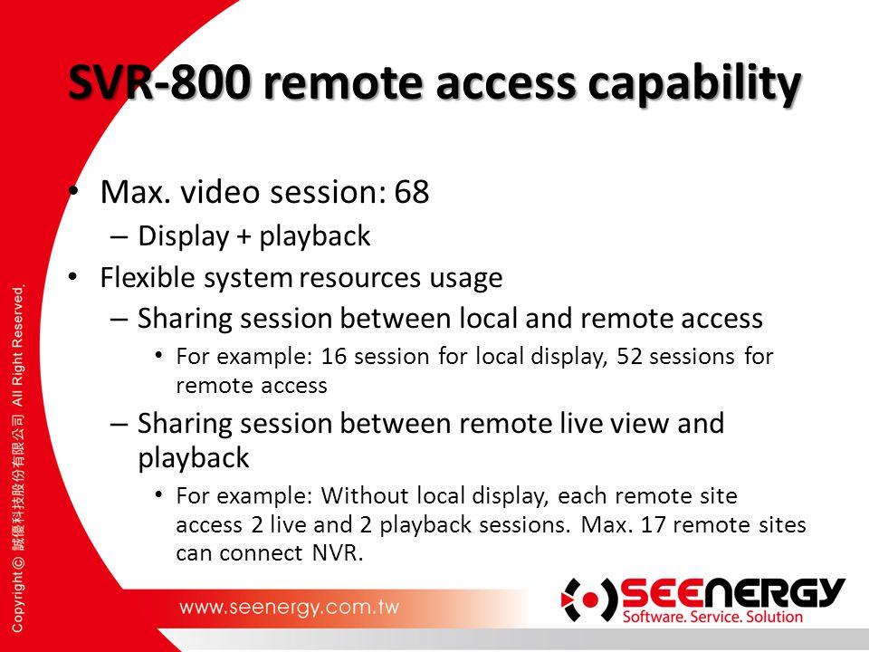 SVR-800 remote access capability
