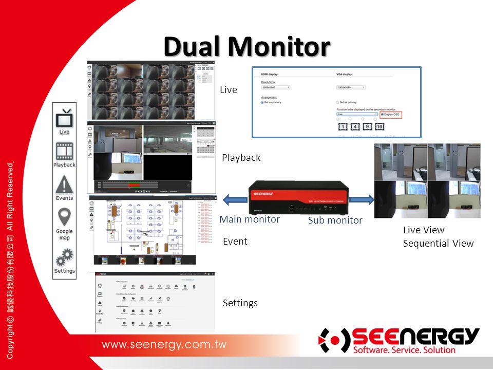 Dual Monitor Live Playback Main monitor Sub monitor Live View