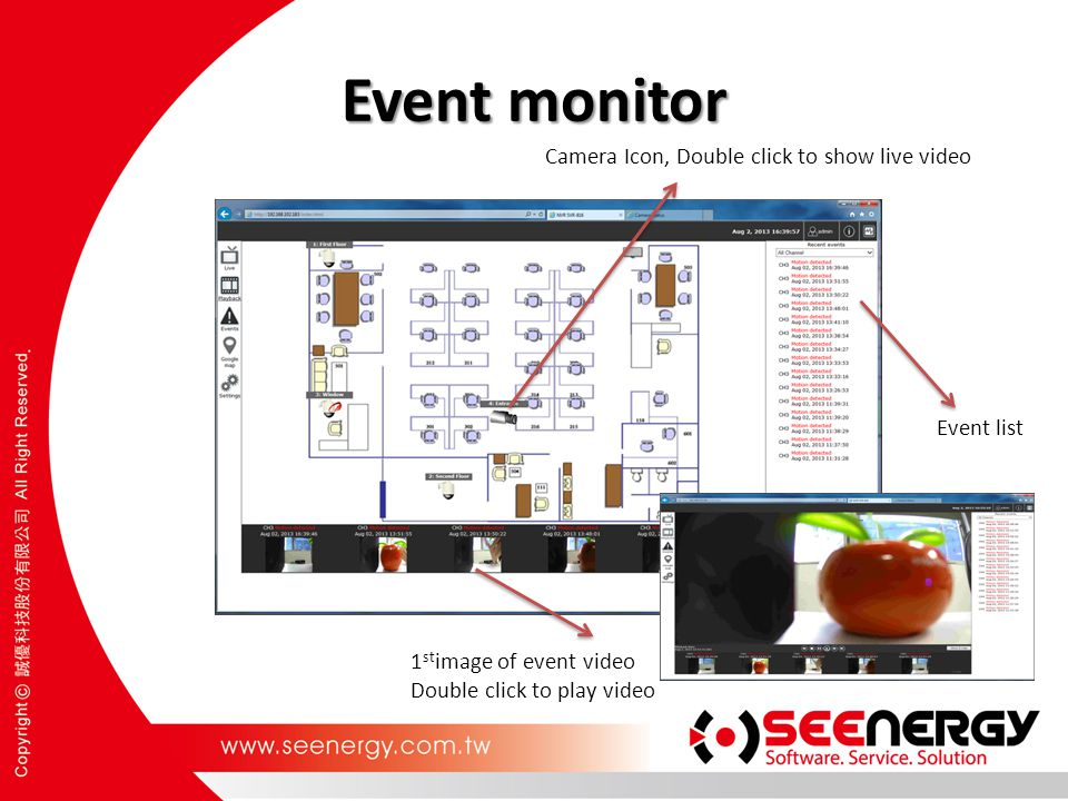 Event monitor Camera Icon, Double click to show live video Event list