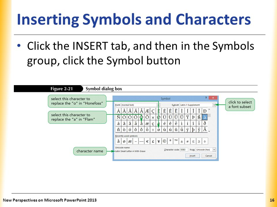 Inserting Symbols and Characters