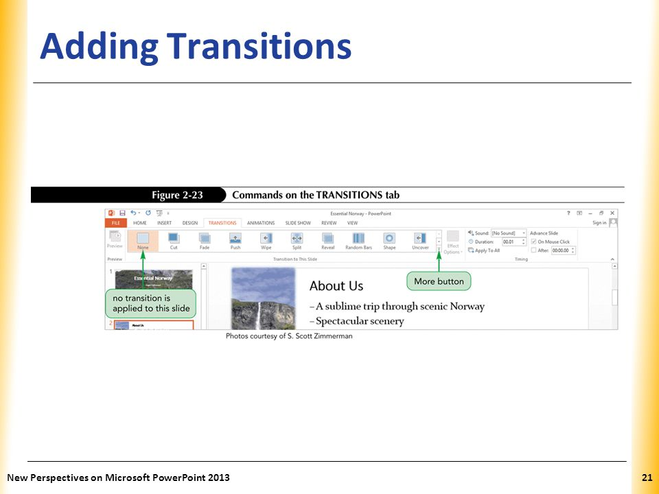 Adding Transitions New Perspectives on Microsoft PowerPoint 2013
