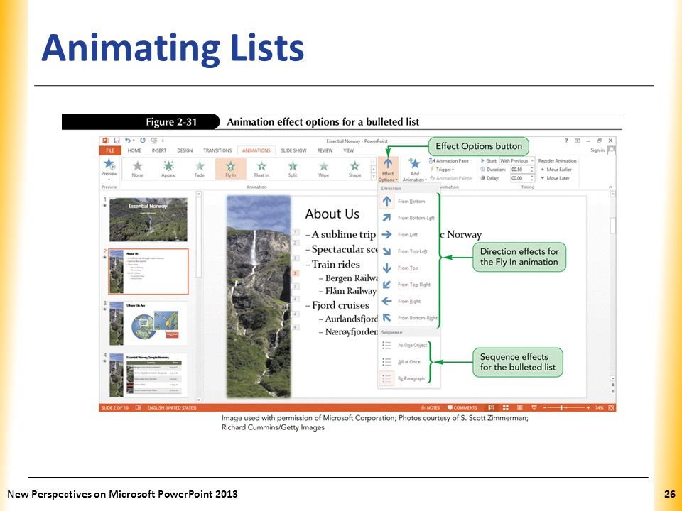 Animating Lists New Perspectives on Microsoft PowerPoint 2013