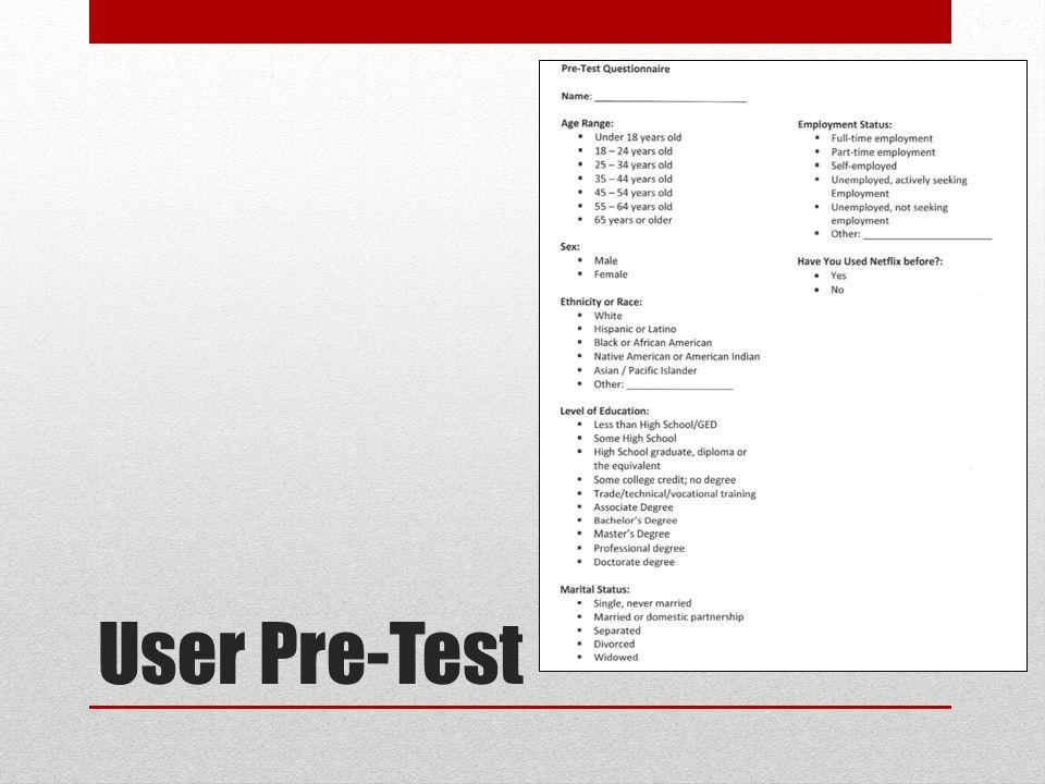 User Pre-Test