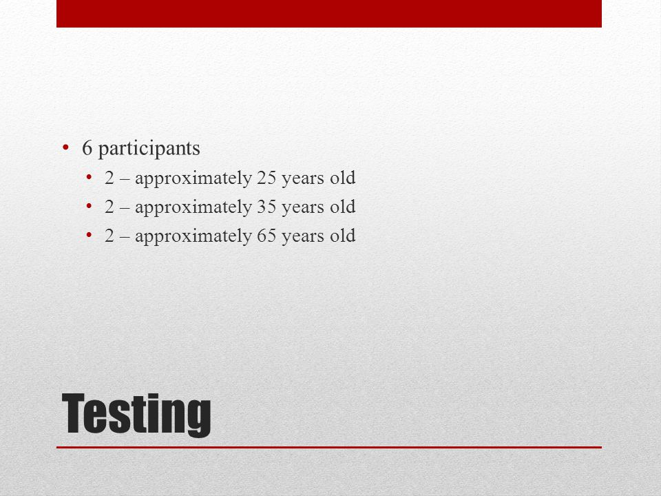 Testing 6 participants 2 – approximately 25 years old