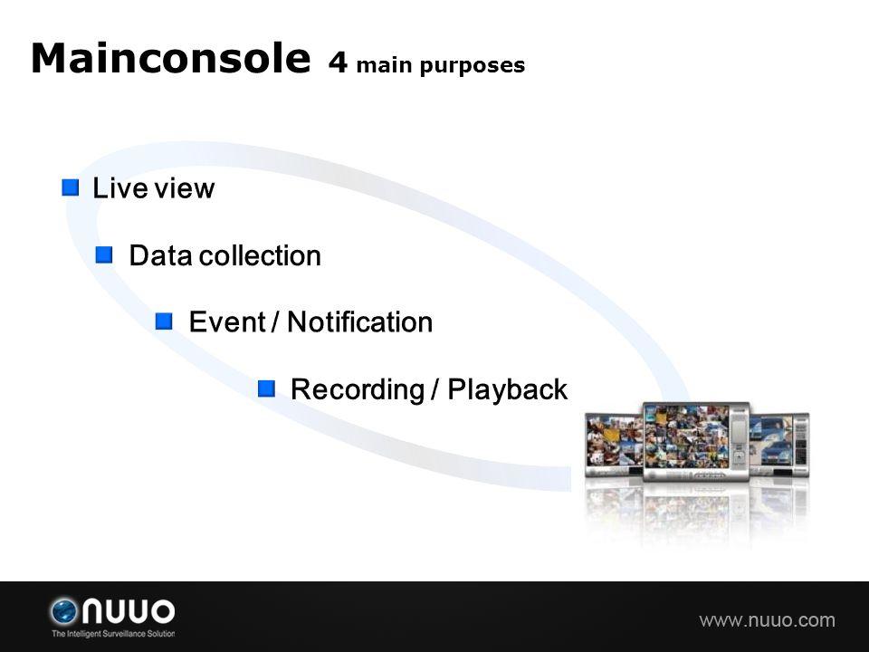 Mainconsole 4 main purposes