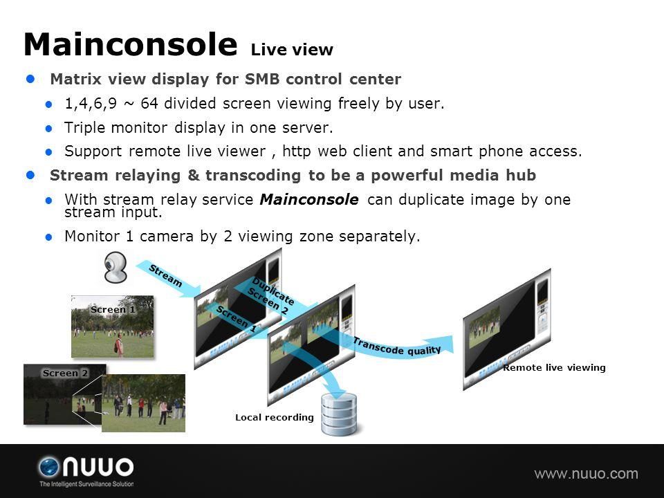 Mainconsole Live view Matrix view display for SMB control center