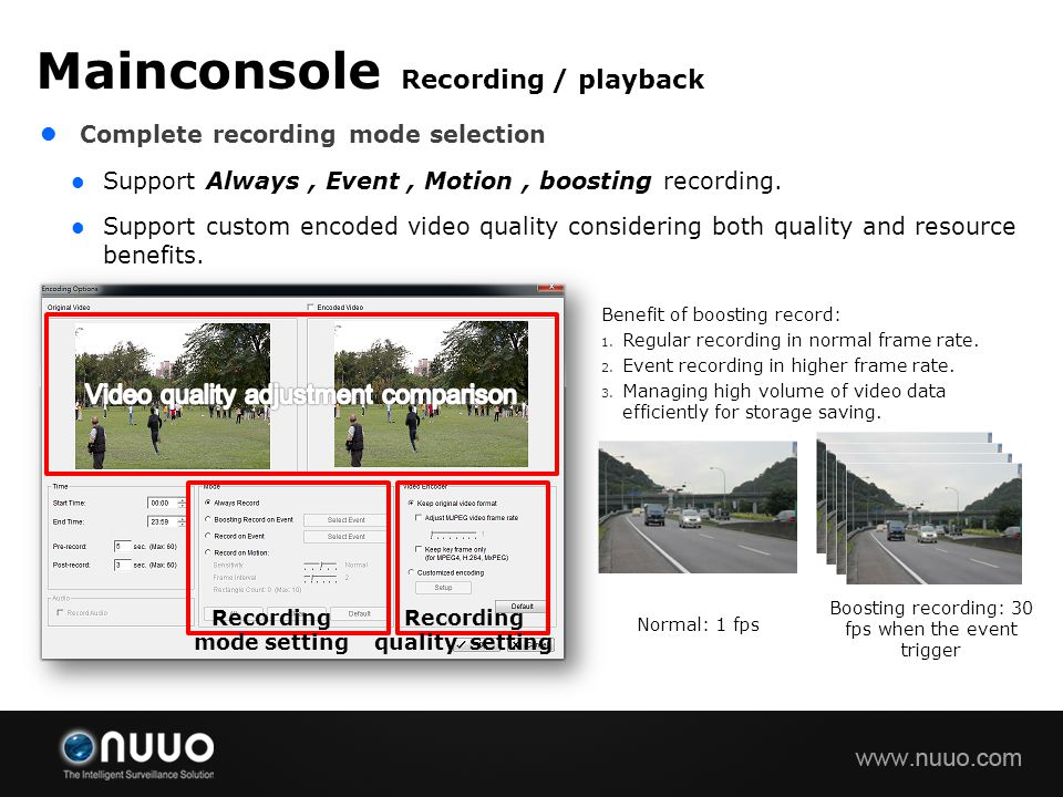 Recording mode setting Recording quality setting