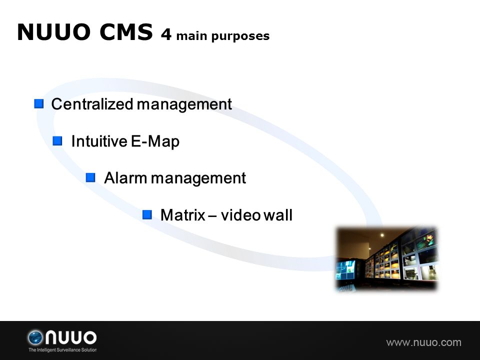 NUUO CMS 4 main purposes Centralized management Intuitive E-Map