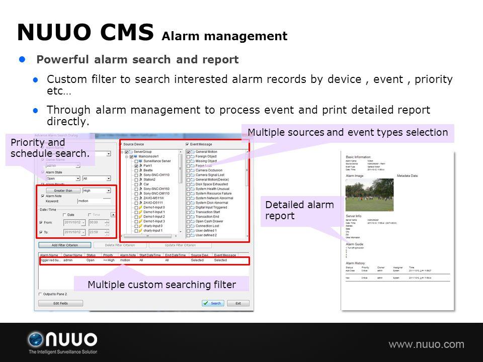 NUUO CMS Alarm management