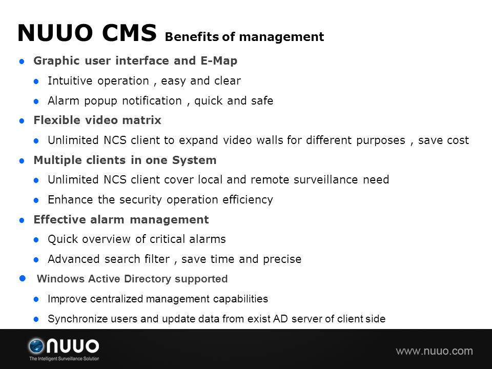 NUUO CMS Benefits of management